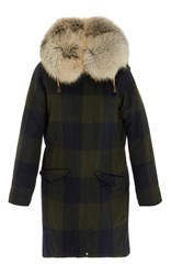Post Card Checkered Midi Coat With Fur Hood Print