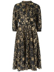 Gig Floral Knit Midi Dress Women Polyester Viscose Pp Metallic