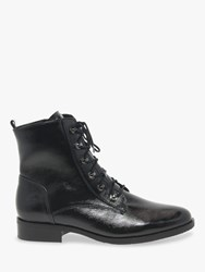 Gabor Keady Wide Fit Lace Up Leather Ankle Boots Black