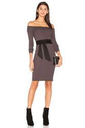 Enza Costa Rib Off Shoulder Mini Dress Brown