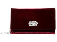 Jessica Mcclintock Nora Velvet Clutch W Rhinestone Broach Wine Clutch Handbags Burgundy